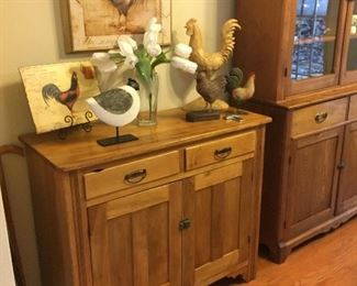 Antique Buffet or Sideboard, Roosters and Chickens