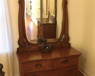 1800's Oak Dresser w/ Large Beveled Mirror