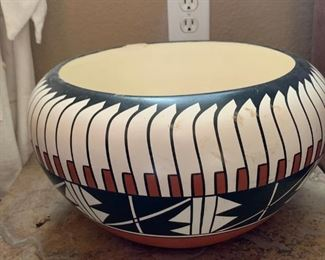 Native American Pottery signed Sandien - cracked - as is