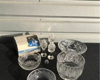 Waterford Crystal and miscellaneous glassware...                - Waterford  round bowls with crystal cut design (one with label still on). Comes with original box - Three Bohemia crystal salt and pepper shakers - Crystal serving bowl with three legs - Deep round cut crystal bowl with small built in stand