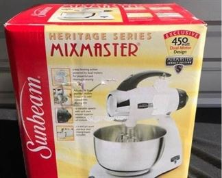 Sunbeam Mix Master, Heritage Series.  -Not used, still in original packaging. -3-way beating action, adjustable bowl for ease of adding ingredients, 12 variable speeds, 2.2 and 4.6 quart stainless steel mixing bowls.