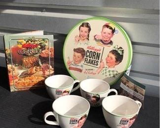 """Kellog's Norman Rockwell Cups, Set of four in original collector's box with cookbook, c. 1978. 3"""" H x 5"""" W"""