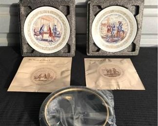 """Historical Numbered plates made by Legacy: The Lafayette Collection                                                                           - #477 The Landing at North Island. 8 1/2"""" Diameter - #424 Silas Deane, The American Agent. 8 1/2"""" Diameter - Van Hygant Smith wooden plate frame (new in package). - Porcelain plates handmade by Limoges, France. In original packaging-all 8.5 to 9.0 inches in D."""
