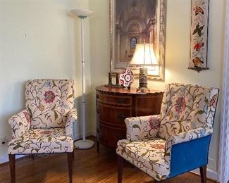 PAIR OF ARMCHAIRS WITH CREWEL, DEMILUNE CABINET, BELL PULL AND ST LOUIS LIBRARY PRINT