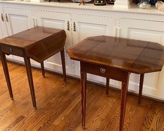 PAIR OF BAKER DROP LEAF TABLES