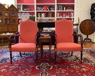 PAIR OF RED READING CHAIRS AND DROP LEAF TABLE