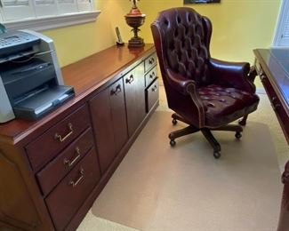 CREDENZA, COPY MACHINES, LEATHER SWIVEL CHAIR