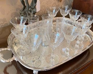 MORE CRYSTAL AND SILVER PLATTERS
