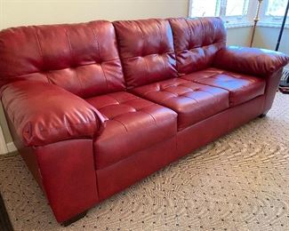 BEAUTIFUL RED LEATHER SOFA