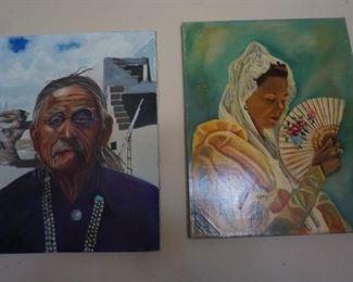 Navajo Man Painting and Senorita with Fan oil paintings.