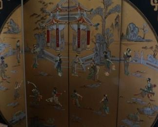 Large vintage Chinese screen with applied figures of maidens with musical instruments.
