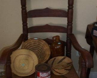 19th Century Ladder Back Chair with new Rush Seat, Baskets, Old Coffee Tin, Redware Jug