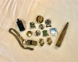 WWII U.S. Army Lapel Buttons, 20mm Bullet, and Other Crests/Shields