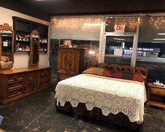 The WHITE FURNITURE CO., Mebane, NC, Solid Wooden King Sized Bed, Dresser, with 2 Mirrors, and Chest of Drawers. (Nice Mattress & Boxsprings go with bed!)