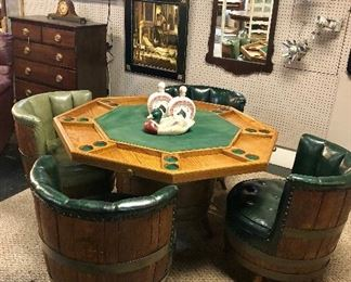 c.1960-70's Solid Wooden Barrel Chairs & Matching Reversible Poker Table