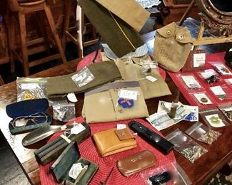 WWII US Army Shirts, Garrison Caps, Vintage Bausch & Lomb 1/10-12K GF Prescription Glasses in Orig Case, Vintage Straight Razors (NOT good condition) BUT they are in their Original Boxes that are collectible, c.1920's Men's Wallets, and old Gillette Razor & Clippers