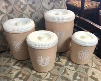 Mid Century Modern, 4-Piece Set of Tan & White Canisters