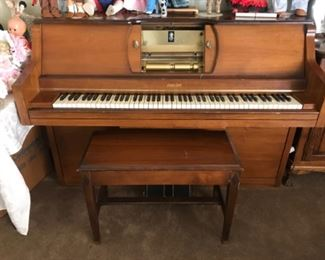 Duo Art Player Piano. Manual/ Auto & Reg Piano W/ Music Reels