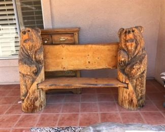 Chain saw carved BEAR BENCH