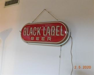 Black Label Beer lighted double sided sign.
