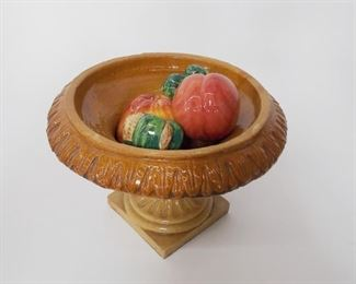 20th C Italian ceramic urn with fruits.