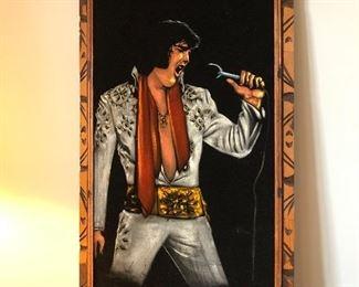 Large signed velvet Elvis art.