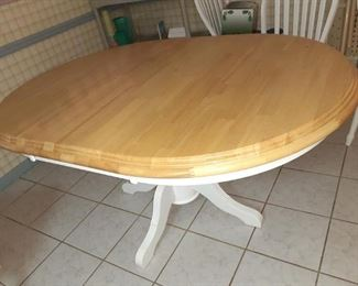 Kitchen table...we have pulled the leaf out for a nice little round table