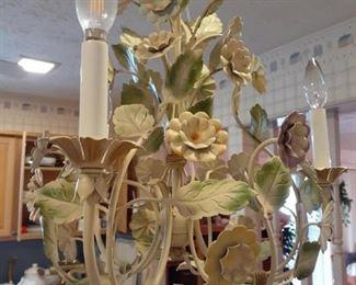 Love this little Italian metal floral light fixture
