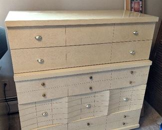 $100  Crème large dresser with silver knobs