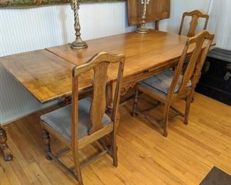 $100 Oak table and extra leaf.  Table has self storing leaves, too!  Chairs are separate at $10 each