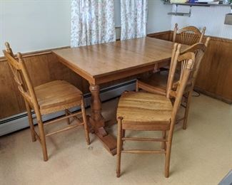 $150  Hightop oak table with chairs