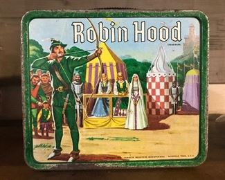 Lots of interesting antique and vintage smalls—vintage Robin Hood lunch box.