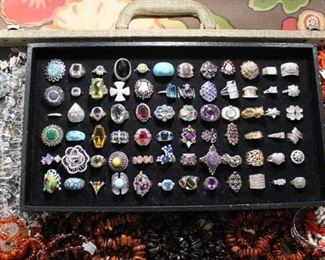 Sterling silver rings from the caravan with a variety of stones from natural to semi-precious and cubic zirconia, 50% off original prices.