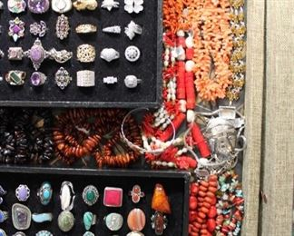 Sterling silver necklaces from the caravan including amber, coral, turquoise and more, 50% off original prices.