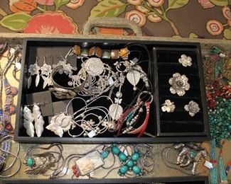 Whimsical fine silver jewelry from Thailand and bohemian silver and brass jewelry from Tibet, 50% off original prices.