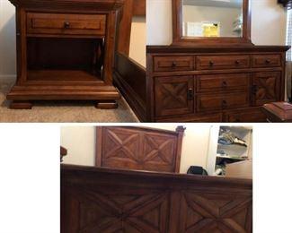 Queen bedroom suit with nightstands, dresser/mirror, and bed