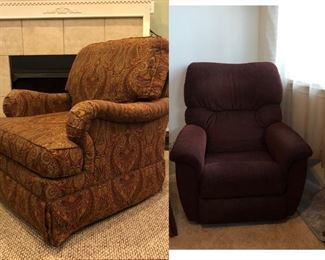 Paisley rocker & Brown velour recliner