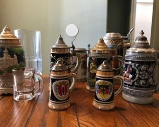 Just some of the many vintage and collectible beer steins in this estate