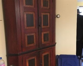 1800's solid wood corner cabinet repainted in 1970's