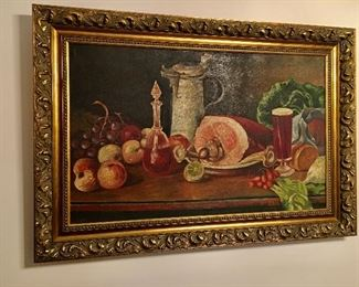 original oil still life painting, possibly early 1900s