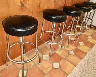 5 retro chrome and leather bar stools