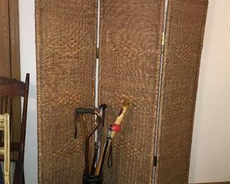 rattan folding screen room divider