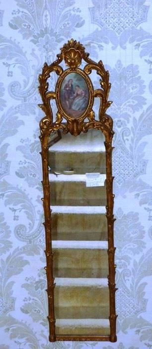 """$685.00 - Available for Presale. 19th Century Pier mirror with hand painted oval inserted panel at top. Mirror measures 14 1/2"""" x 60"""""""