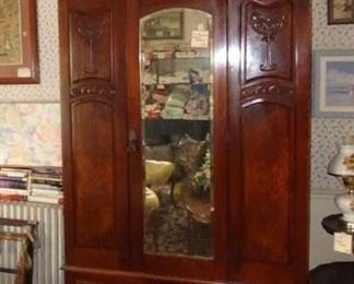 $650.00 - Available for Presale. 3 Pc. antique armoire with mirrored door. Great hanging storage with bottom drawer