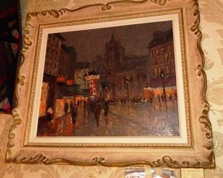 $800.00 - Available for presale. Old Oil on Canvas Paris Street Scene. Signed Brisson.  33 x 28. History info on back