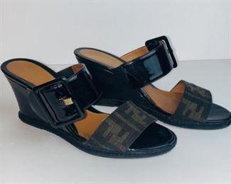 Fendi Fendissima Black Patent Leather Logo Slide Wedges