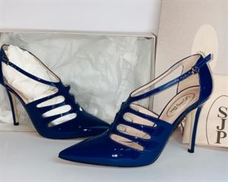 SJP by Sarah Jessica Parker 'Denise' Patent Leather T-Strap Pump Stiletto Heel -Size 37.5