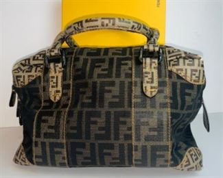 Fendi Tobacco Zucca Canvas Boston Bag