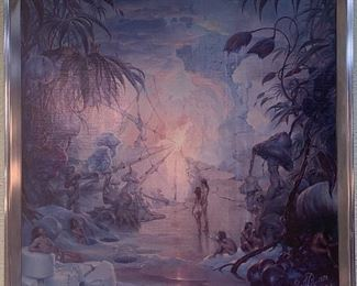 """John Pitre """"Temptations of a False God"""" Giclee 1976  Chrome Frame.  Just Awesome.  Watch Video for more information. https://www.youtube.com/watch?v=oJsWerQYaIs"""