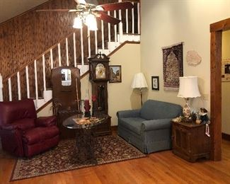 emperor grandfather clock w/ all papers and pre 1976 dates ,  sleeper loveseat   SOLD SLEEPER SOLD RED RECLINER